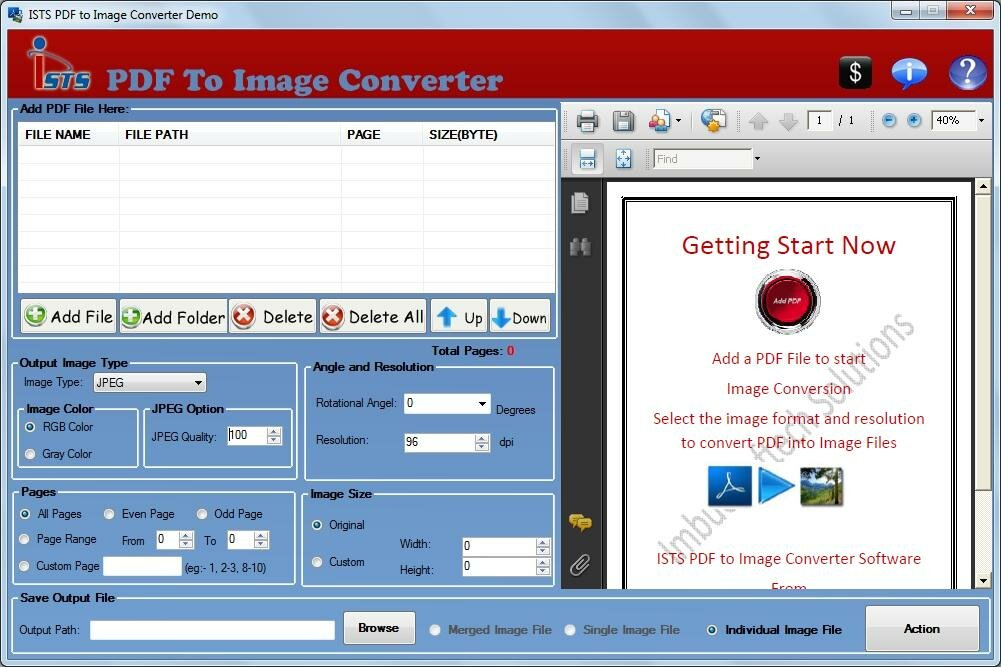 Click to view PDF To Image Conversion application 2.8.0.4 screenshot